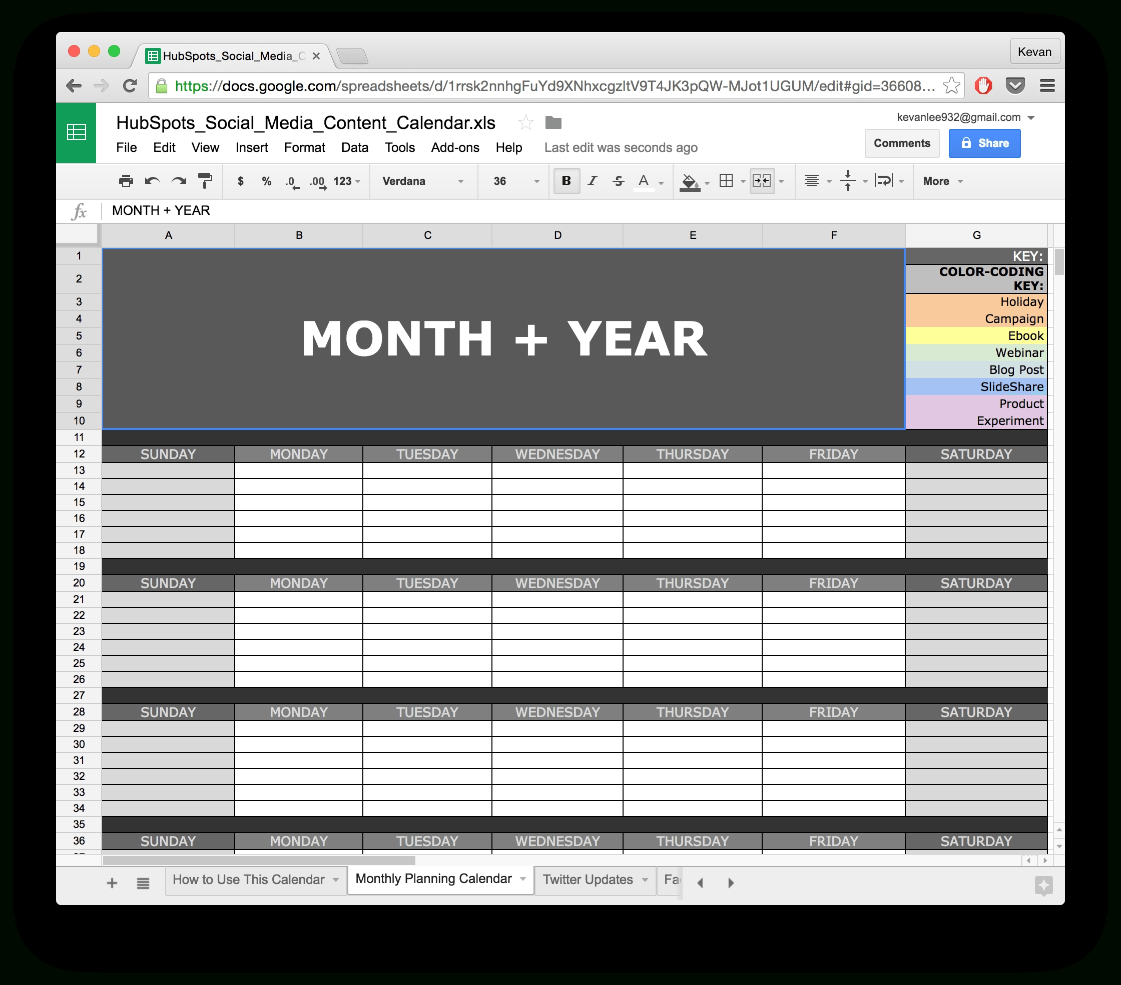 10 Ready-To-Go Marketing Spreadsheets To Boost Your Productivity Today Calendar Template In Google Sheets