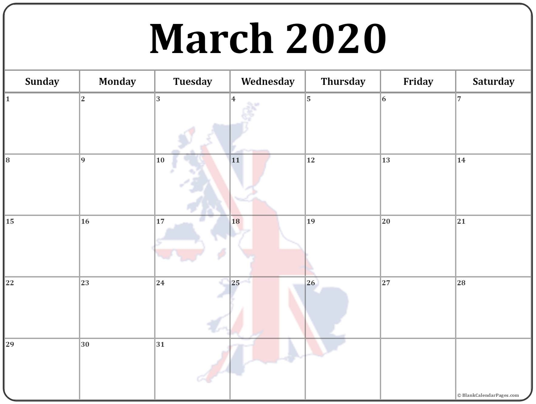 15+ March 2020 Printable Photo Calendars With Image Filters. March 2020 Calendar Uk