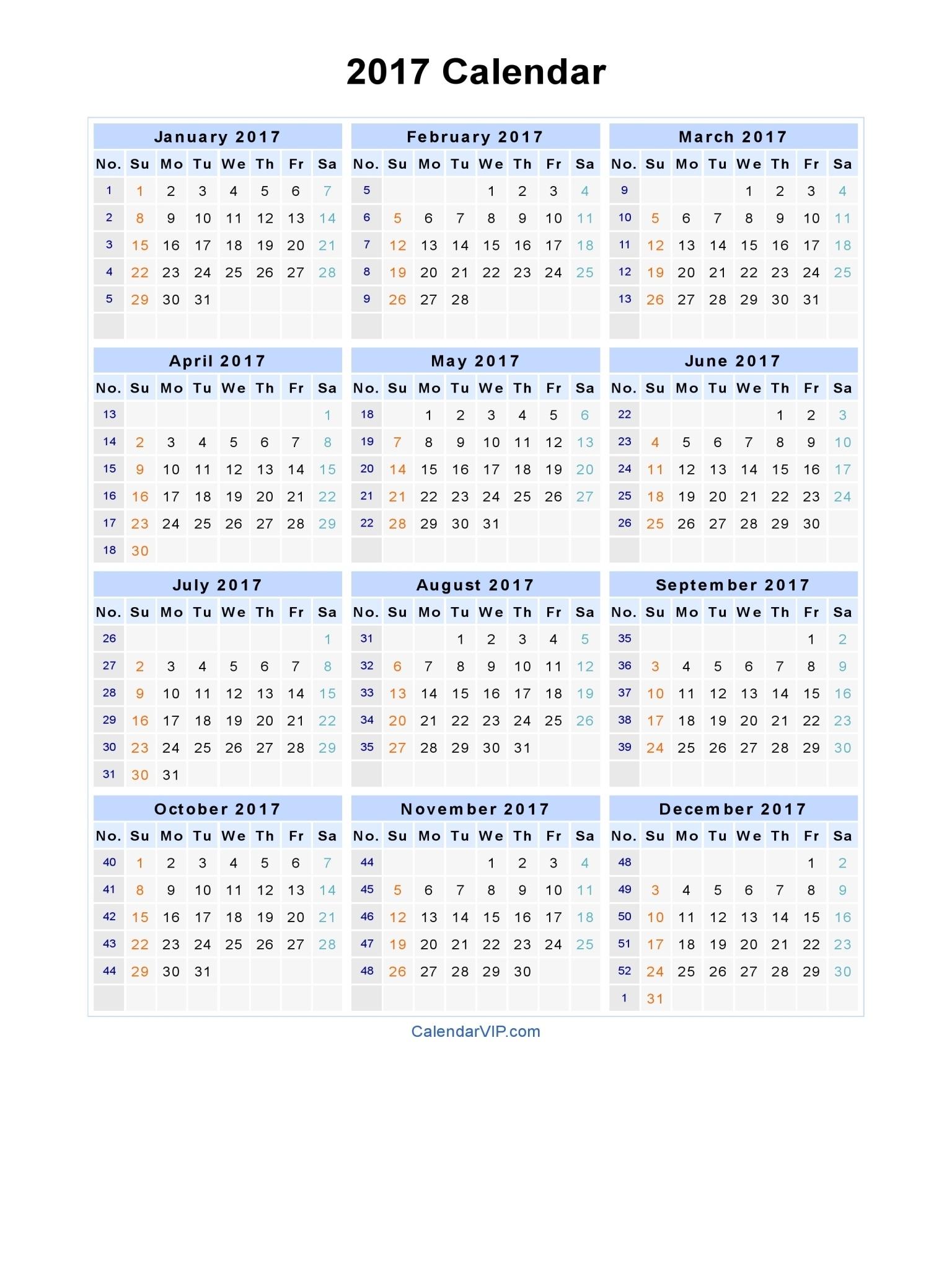 2017 Calendar - Blank Printable Calendar Template In Pdf Word Excel Calendar 2020 Zile Libere