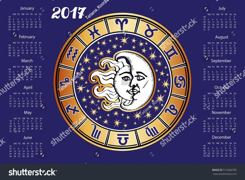 2017 New Year Calendar Horoscope Circle Stock Vector (Royalty Free Aztec Calendar Zodiac Signs