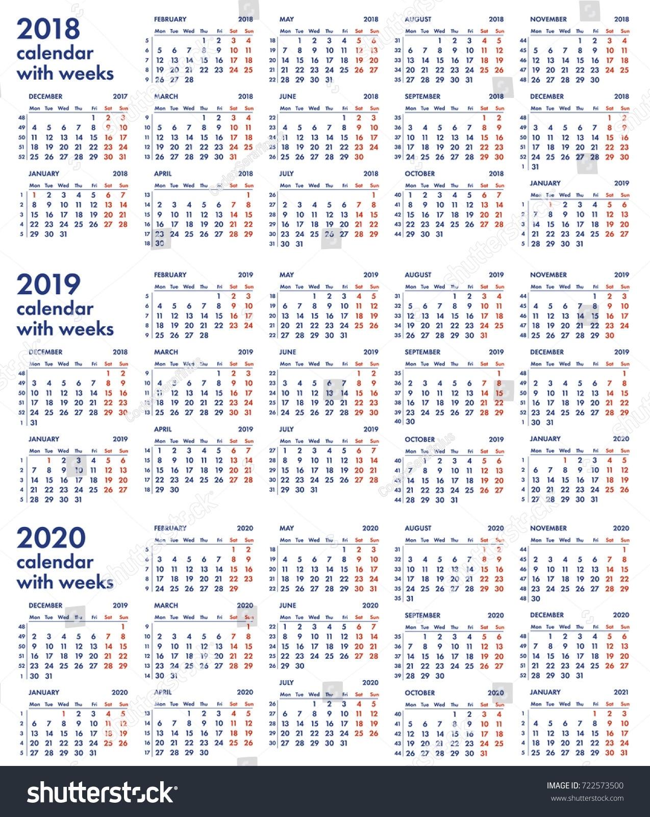 2018 2019 2020 Calendar Grid Weeks Stock Vector (Royalty Free Dashing 2020 Calendar With Week Numbers
