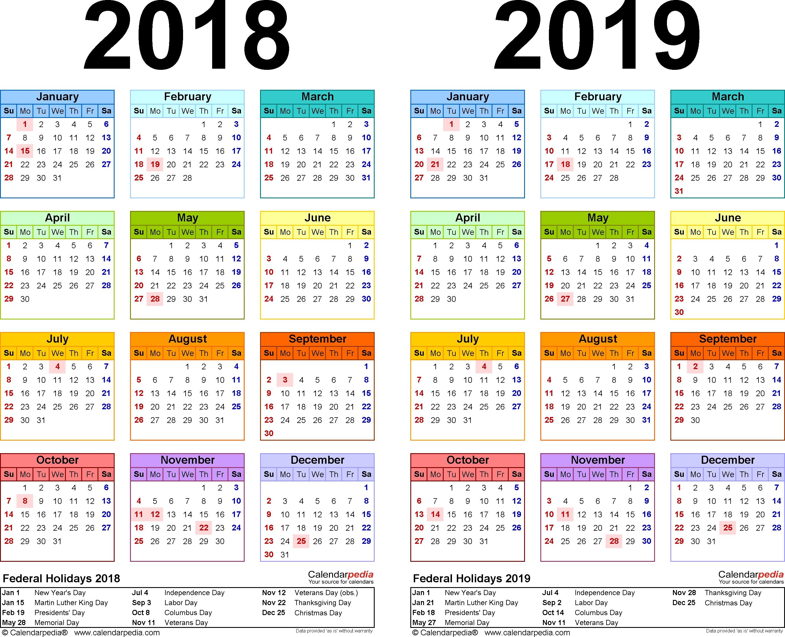 2018-2019 Calendar - Free Printable Two-Year Pdf Calendars 1 Calendar Month Calculator