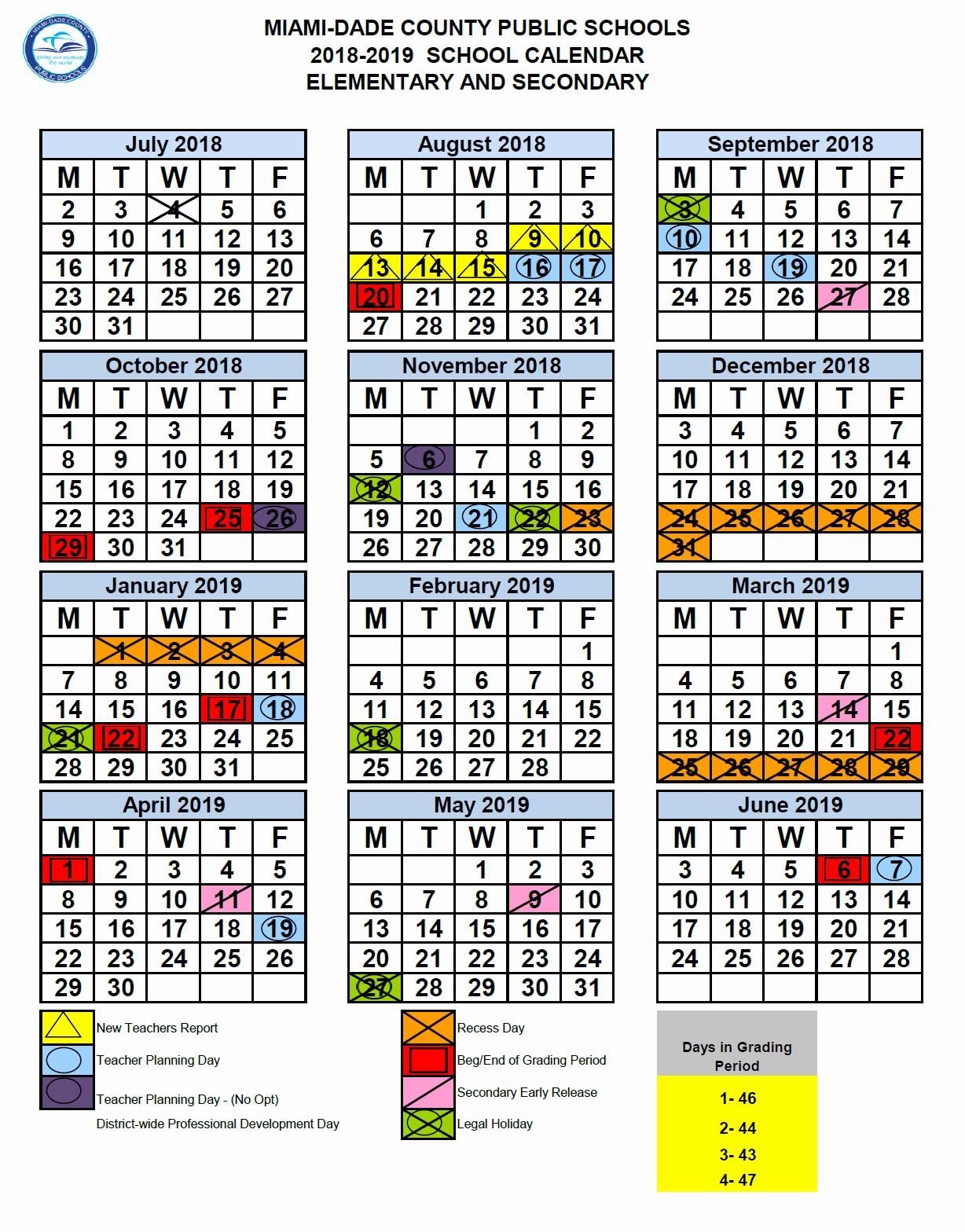 Miami Dade County School Calendar 2016 2020 Dashing School Calendar In Miami Dade • Printable Blank Calendar