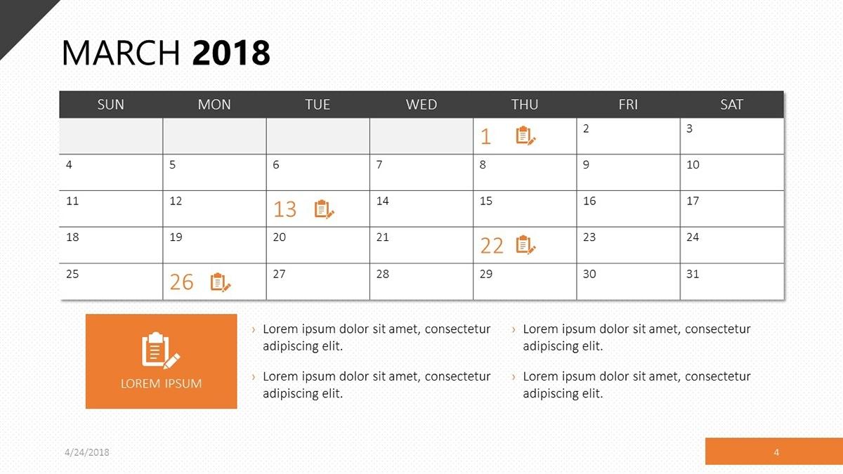 2018 Calendar Template   Free Powerpoint Template Calendar Template That Can Be Written On