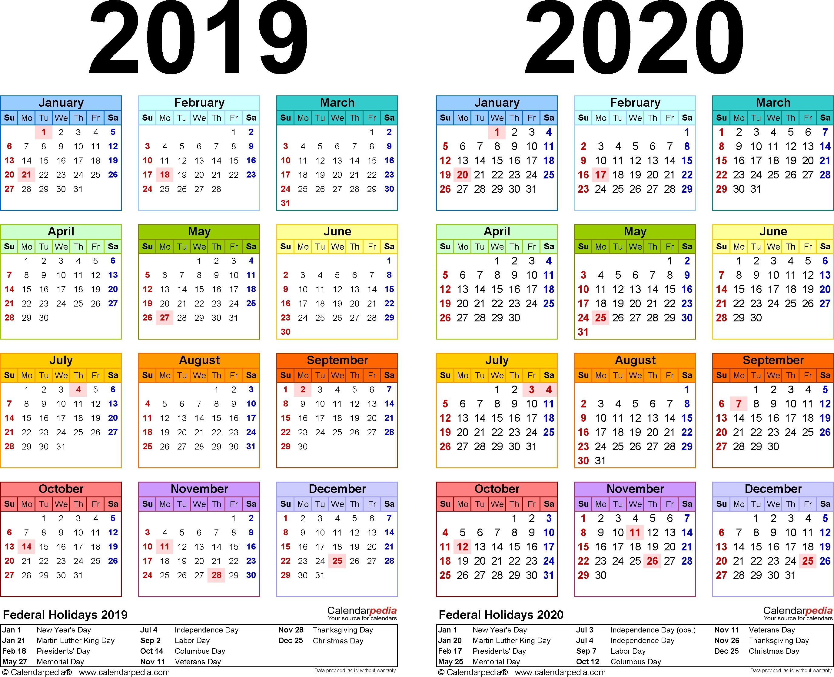 2019-2020 Calendar - Free Printable Two-Year Pdf Calendars 2020 Calendar Of Holidays