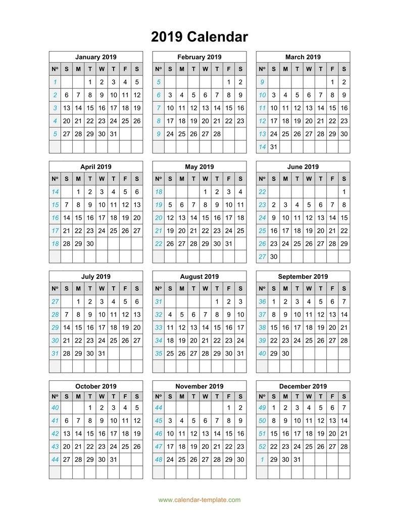 Calendar Template 1 Page