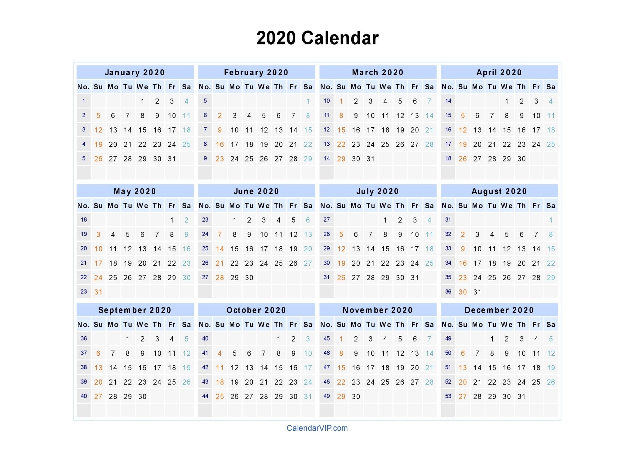 2020 Calendar - Blank Printable Calendar Template In Pdf Word Excel 2020 Calendar Microsoft Word