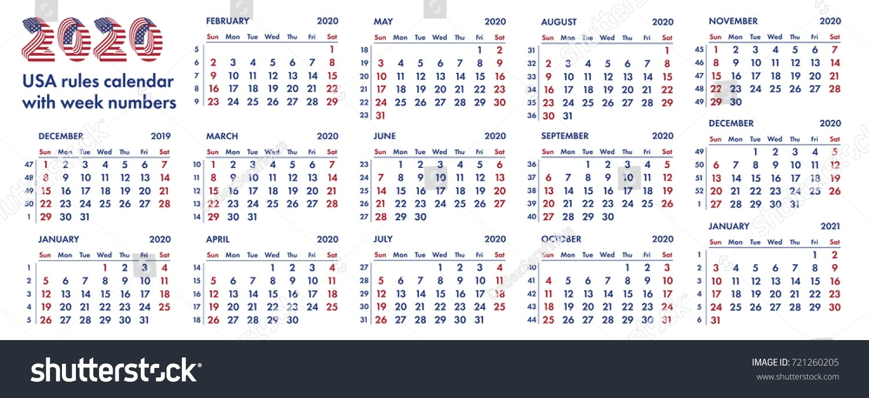 2020 Calendar Grid American Rules Weeks Stock Vector (Royalty Free 2020 Calendar With Week Numbers