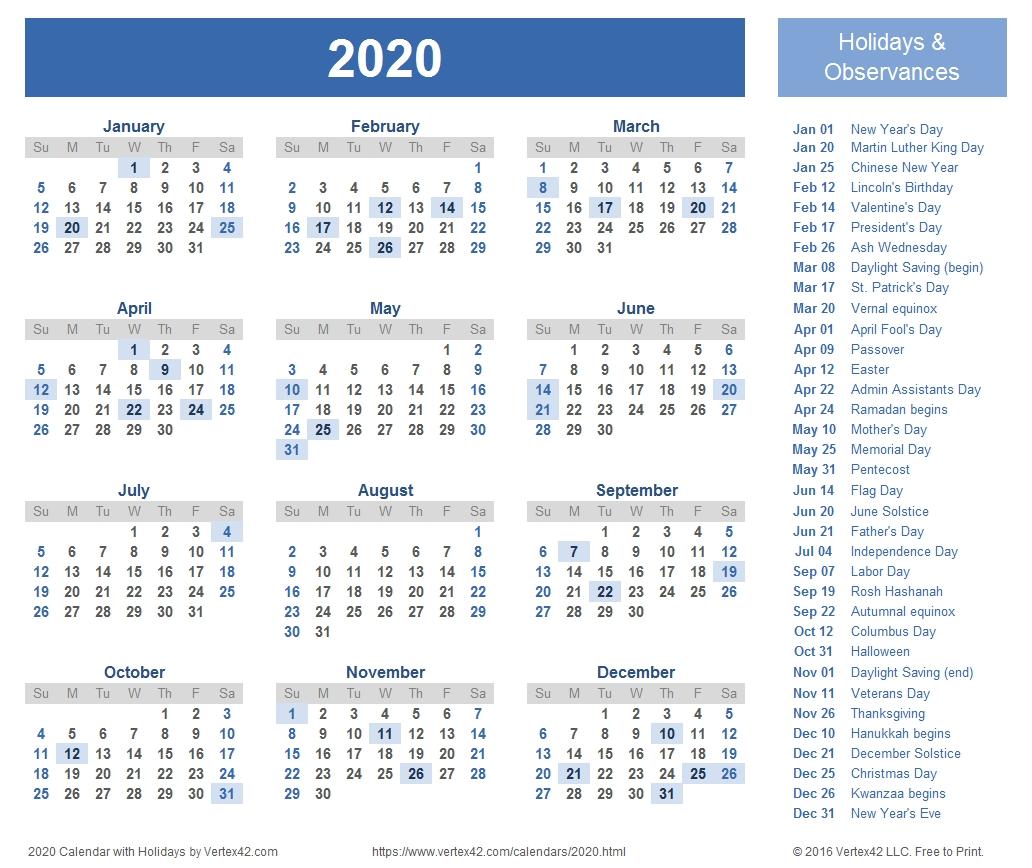 2020 Calendar Templates And Images 2020 Calendar Showing Holidays