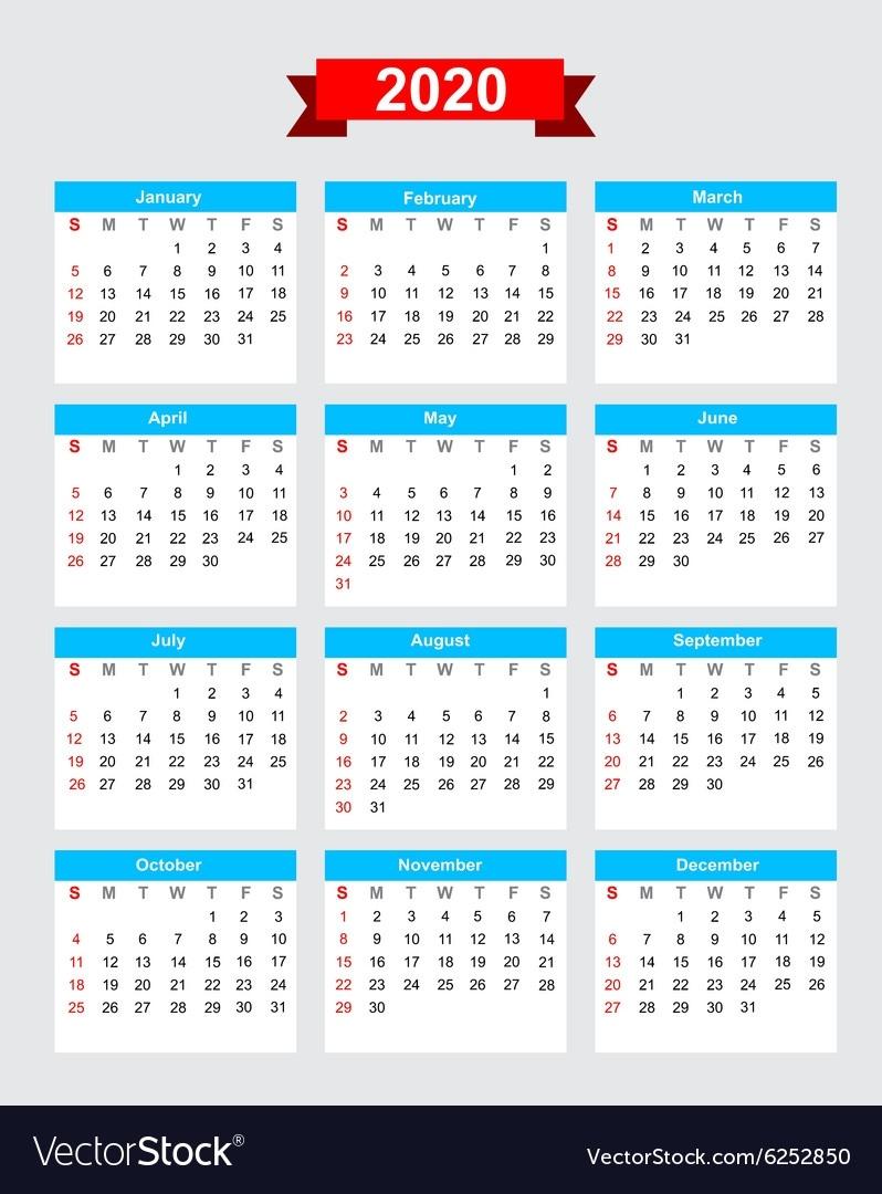 2020 Calendar Week Start Sunday Royalty Free Vector Image 2020 Calendar Monday To Sunday