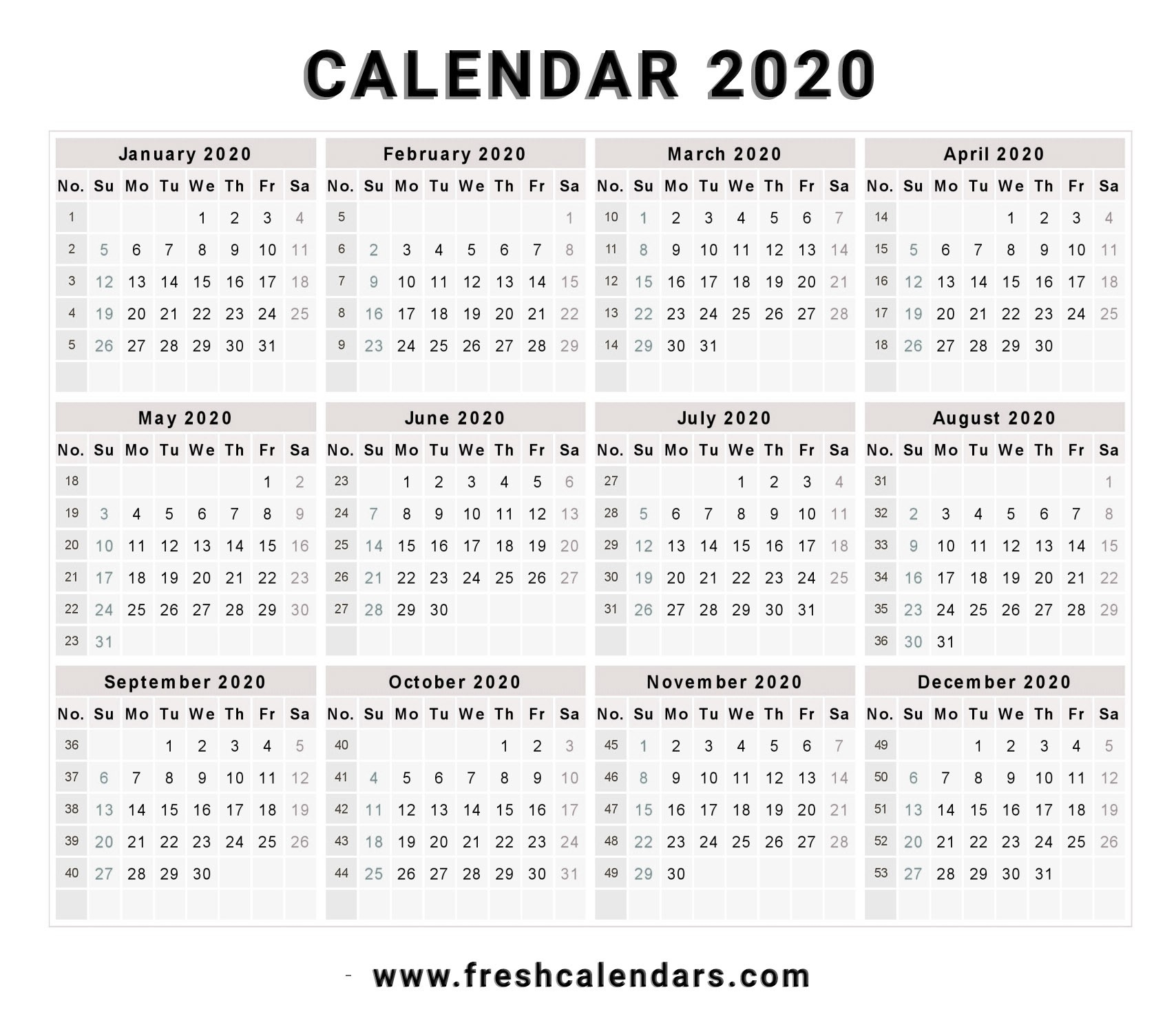 1 Page 2020 Calendar Dashing 2020 Calendar 1 Page • Printable Blank Calendar Template