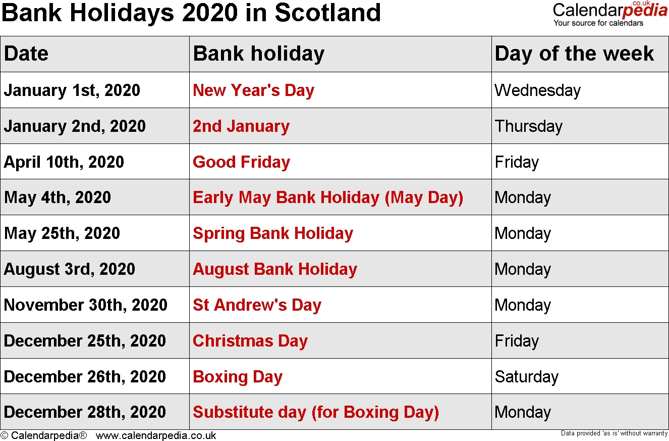 Bank Holidays 2020 In The Uk Exceptional 2020 Calendar Including Bank Holidays
