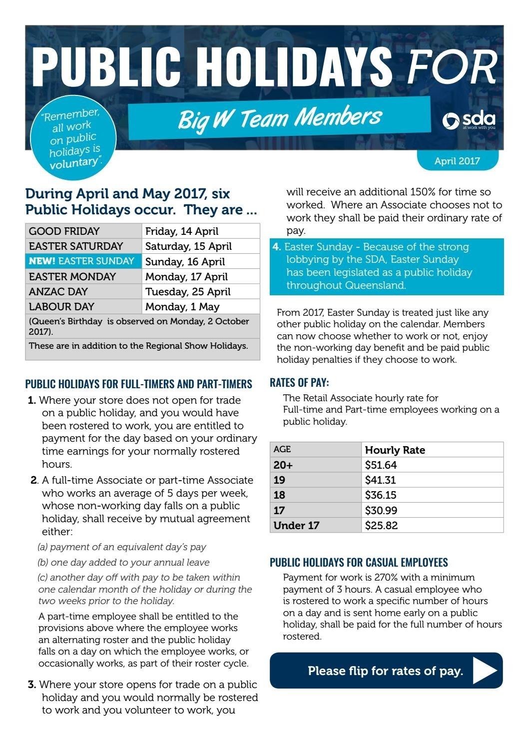 Big W Public Holiday Flyer 2017 By Sda Queensland - Issuu Big W Calendar Printing