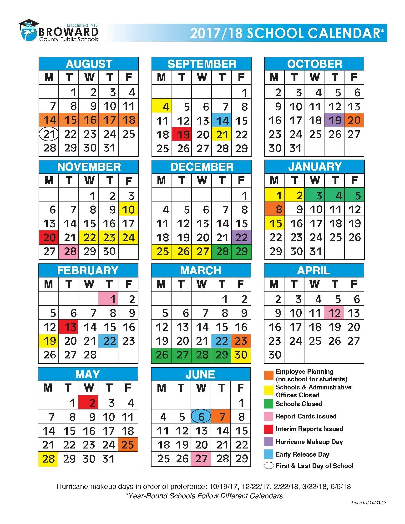 Broward County School Calendar 2017 2018   Printable Monthly Impressive Broward County School Calendar