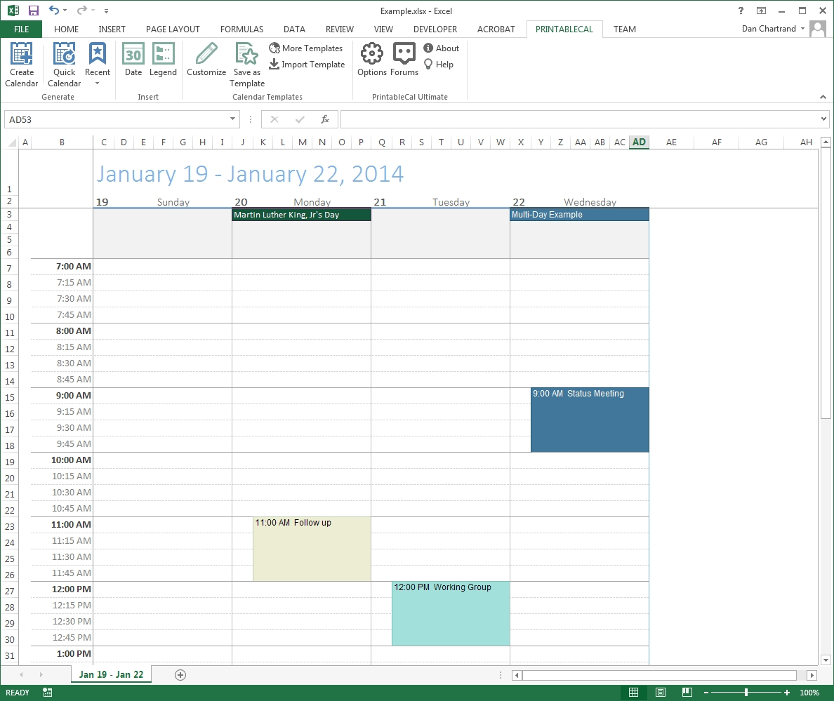 Customize And Print Calendar Templates In Excel And Word 4 Day Calendar Template