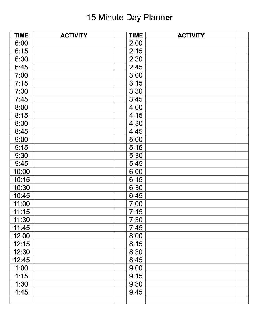Daily Calendar Template Editable Planner | Printable Templates 1 Day Calendar Template