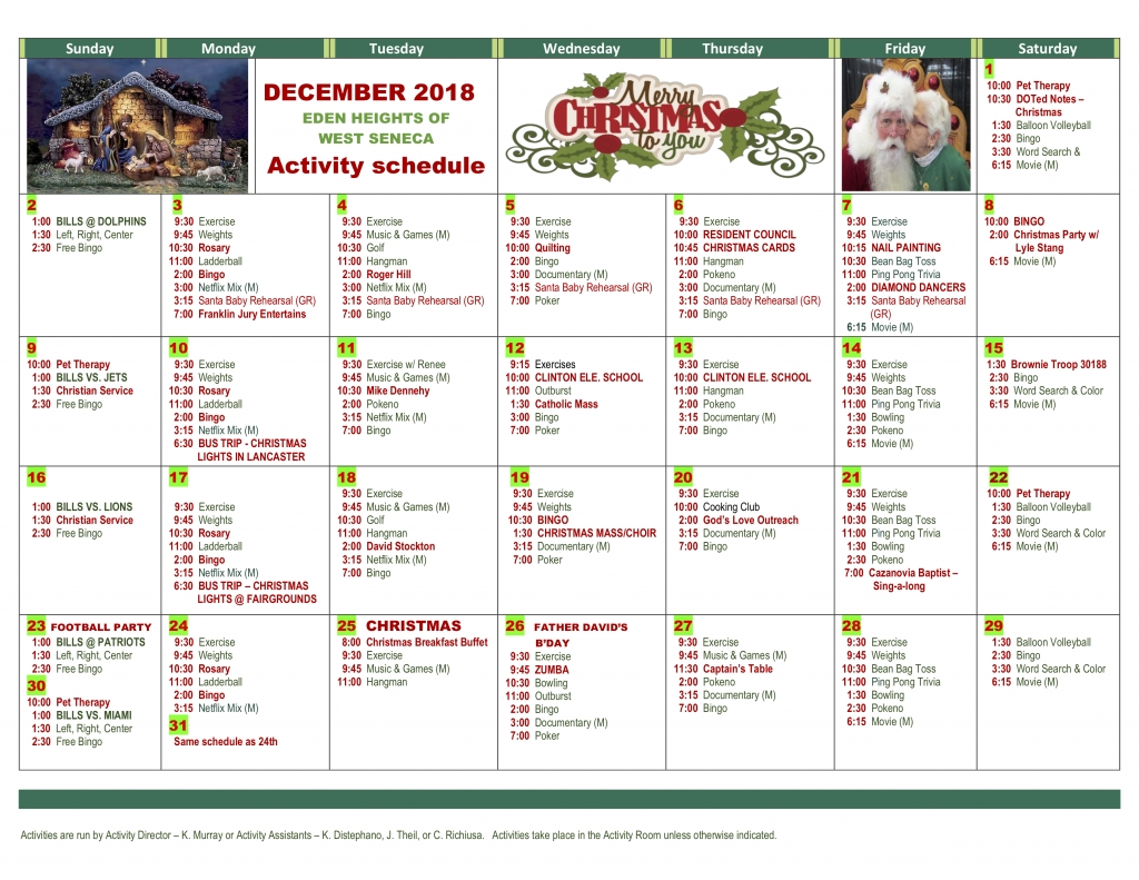 December 2018 Calendar - Premier Senior Living, Llc Dashing Eden 2 School Calendar