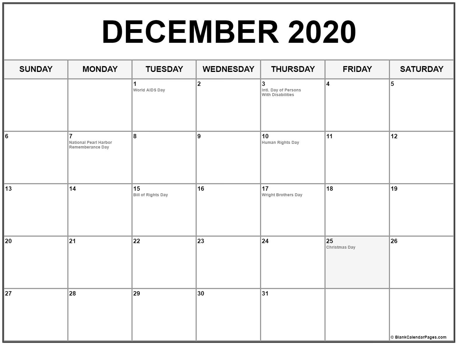 December 2020 Calendar With Holidays | Printable Calendar Perky 2020 Calendar And Holidays