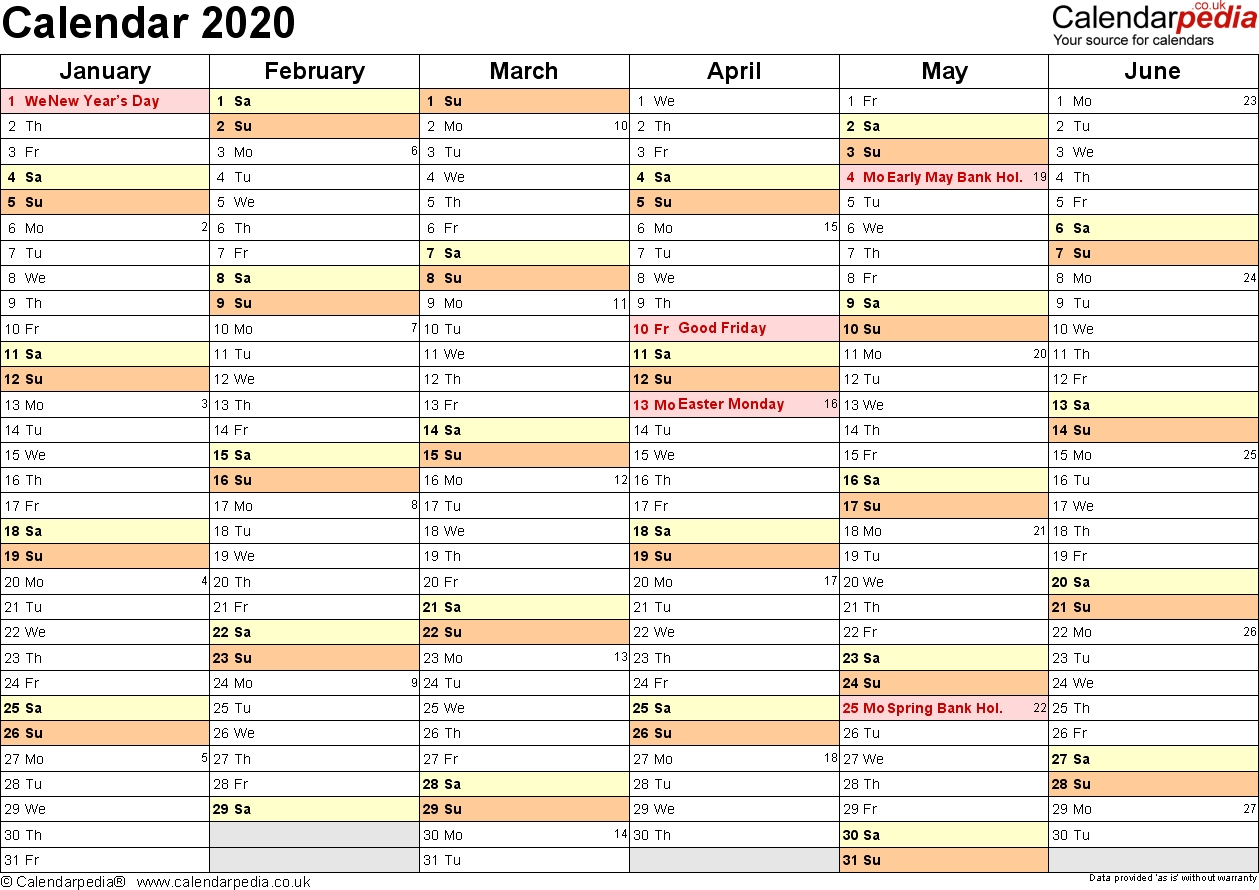Excel Calendar 2020 (Uk): 16 Printable Templates (Xlsx, Free) Incredible 2020 Calendar Uk Excel