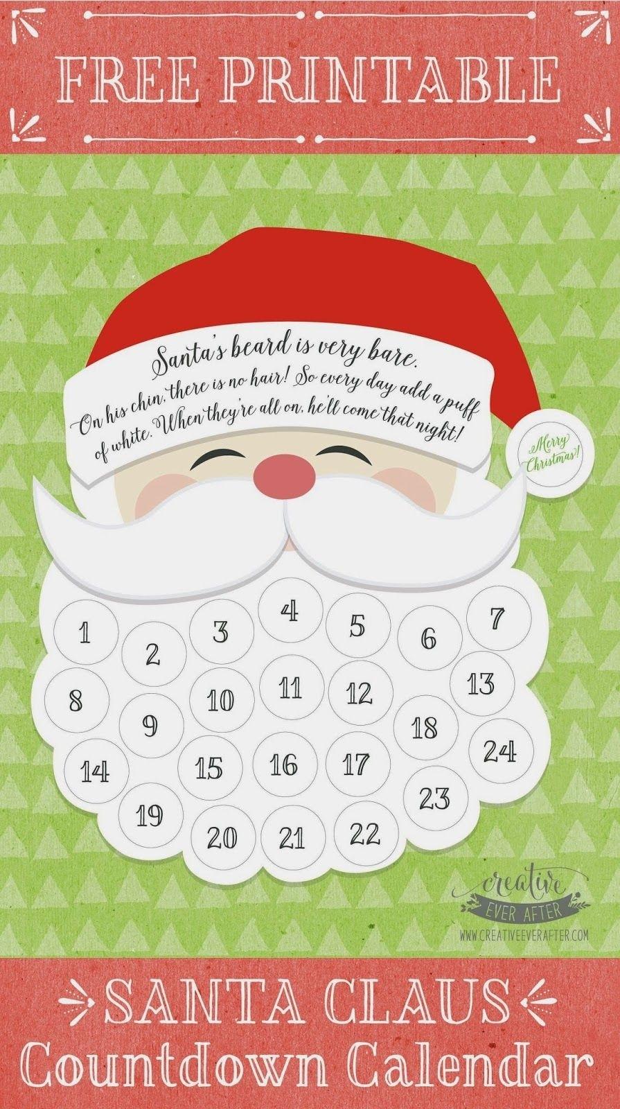 Free Printable} Santa Claus Beard Countdown Calendar | Printables Countdown Calendar To Christmas Printable