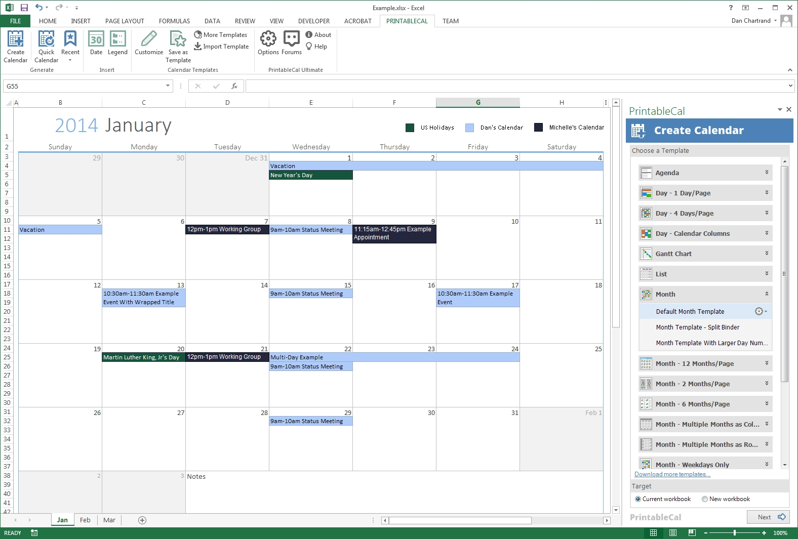 Generate Printable Calendars Using A Month Template Create A Monthly Calendar