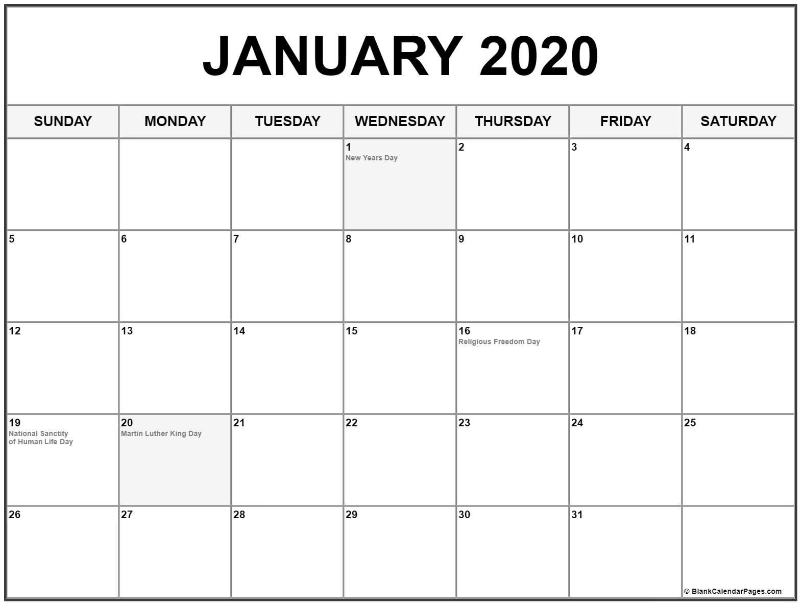 January 2020 Calendar With Holidays | Printable Calendar Exceptional 2020 Calendar Showing Holidays