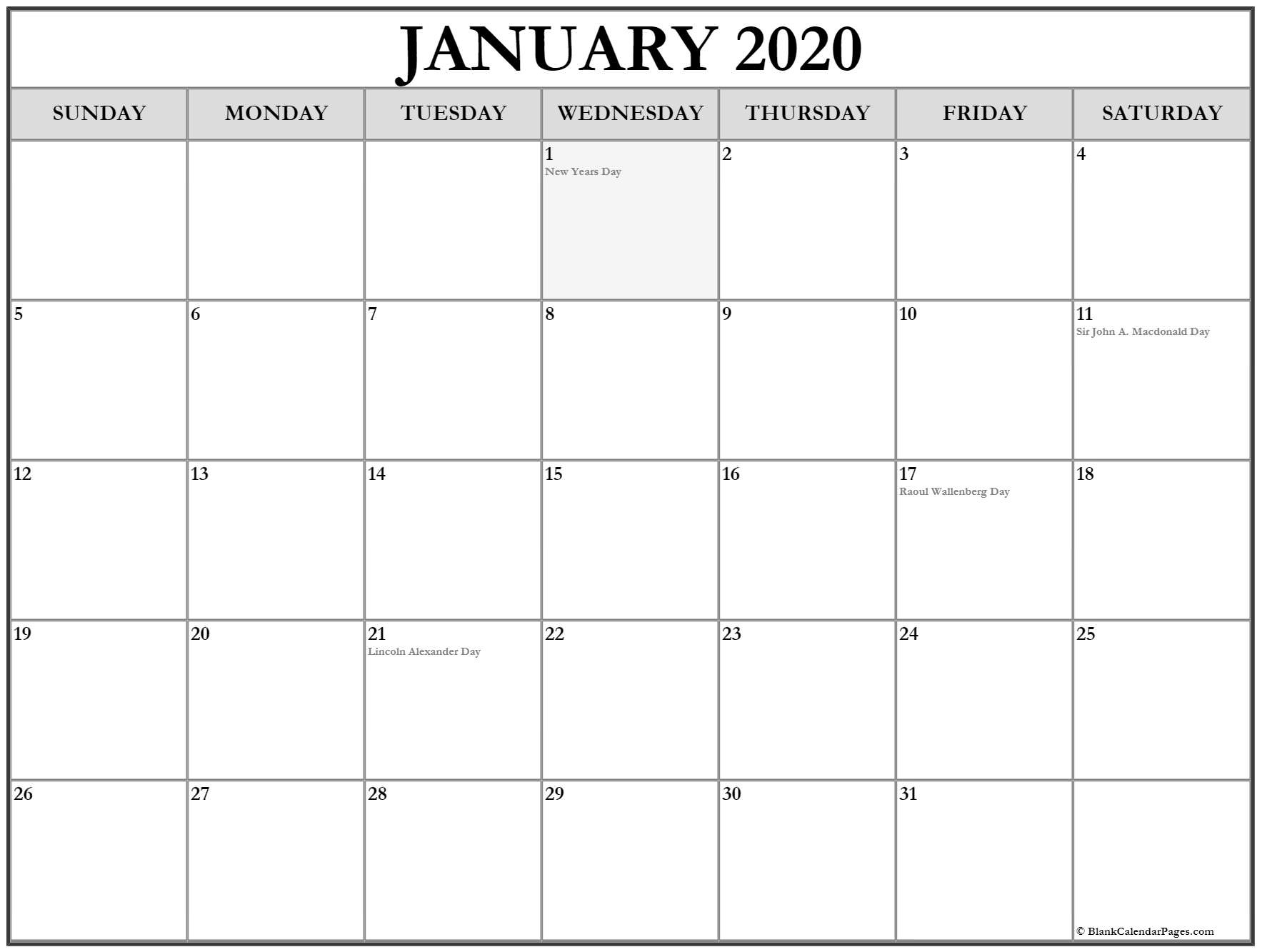 January 2020 Calendar With Holidays | Printable Calendar Remarkable 2020 Calendar With Holidays Canada