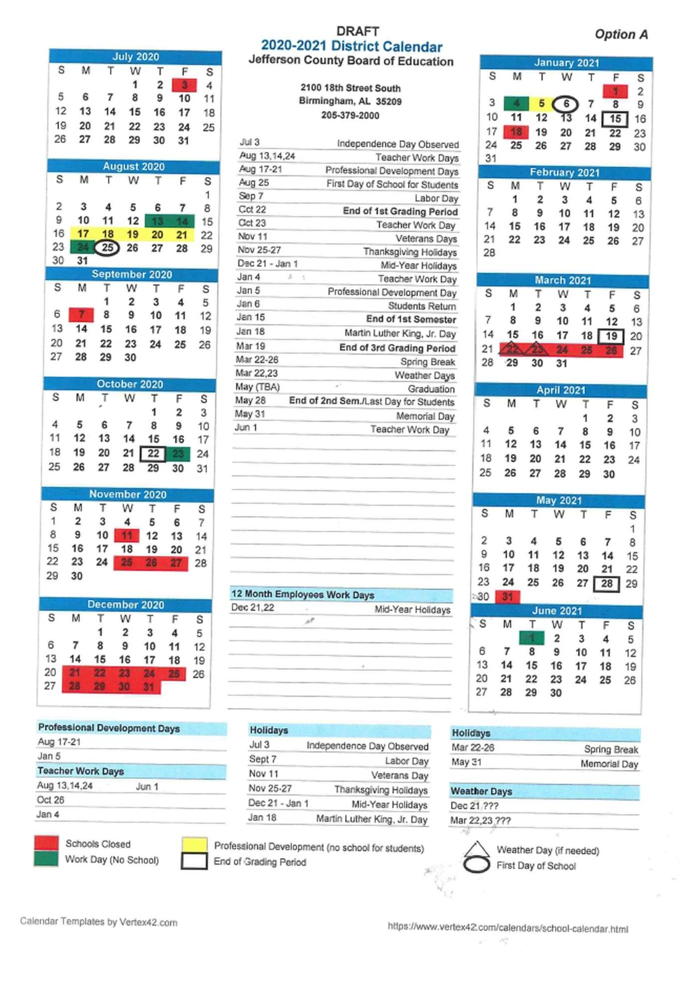 Jefferson County School Calendar.Incredible School Calendar Jefferson County Alabama Printable