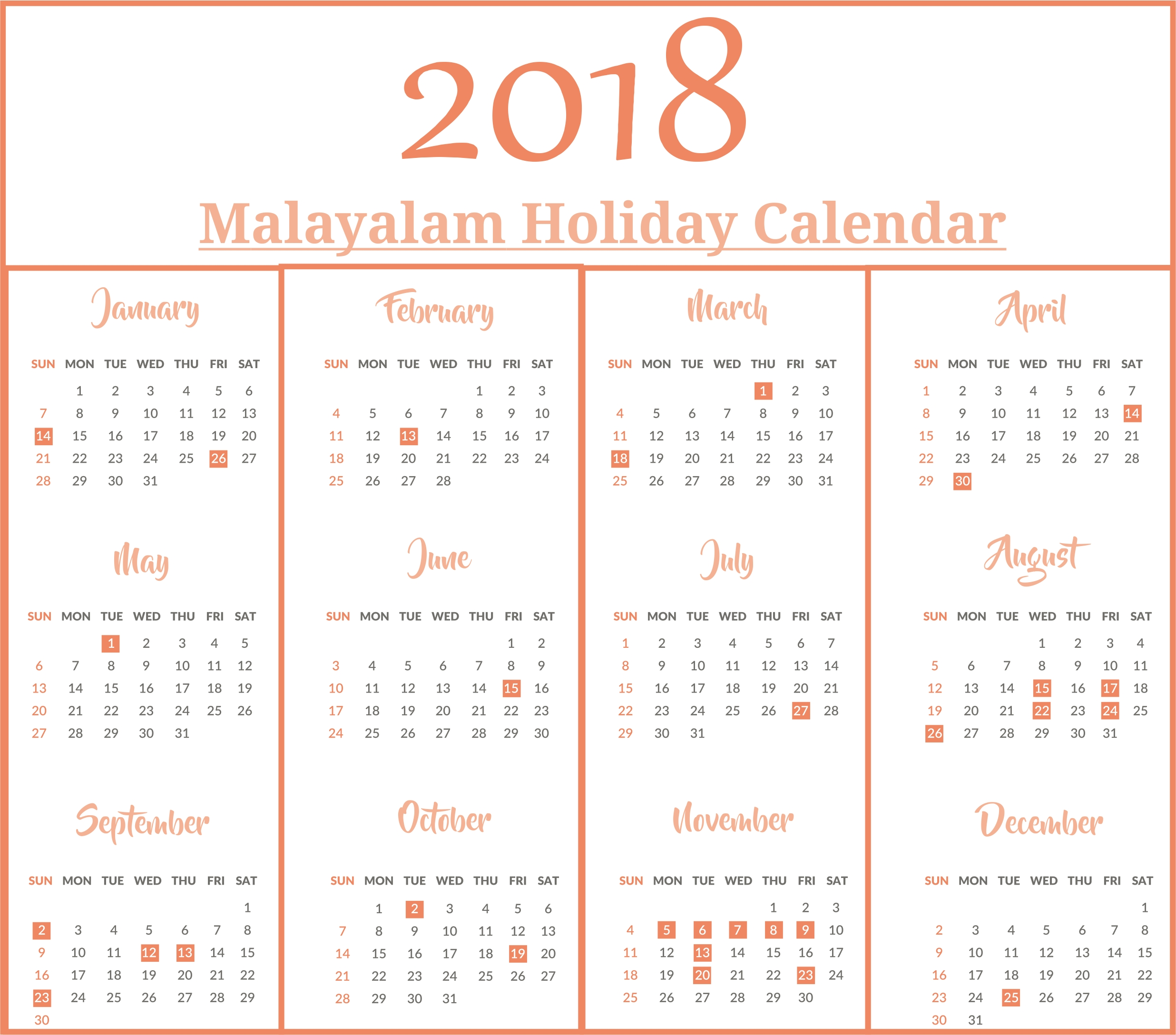 Malayalam Calendar 2018 With Malayalam Holidays | Printable Dashing Malayalam Calendar 2020 January