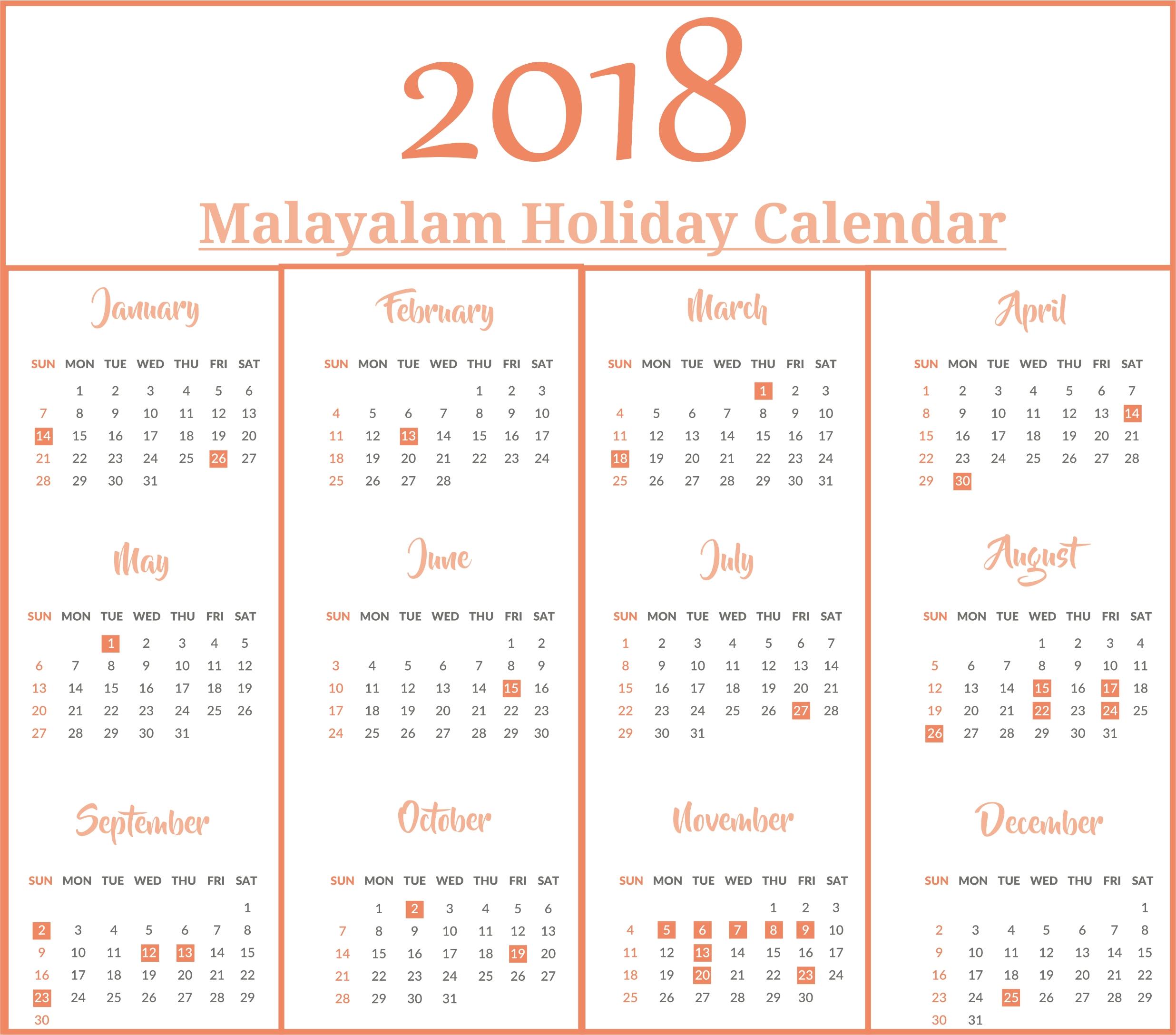 Malayalam Calendar 2018 With Malayalam Holidays | Printable Malayalam Calendar 2020 July