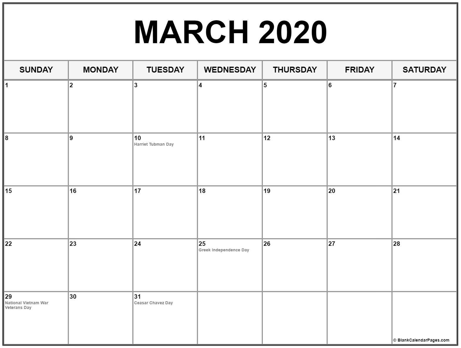 March 2020 Calendar With Holidays   Printable Calendar 2020 Calendar Of Holidays
