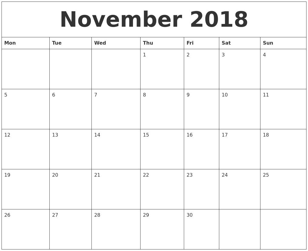 November 2018 Free Printable Calendar Templates Printable Calendar Template Free