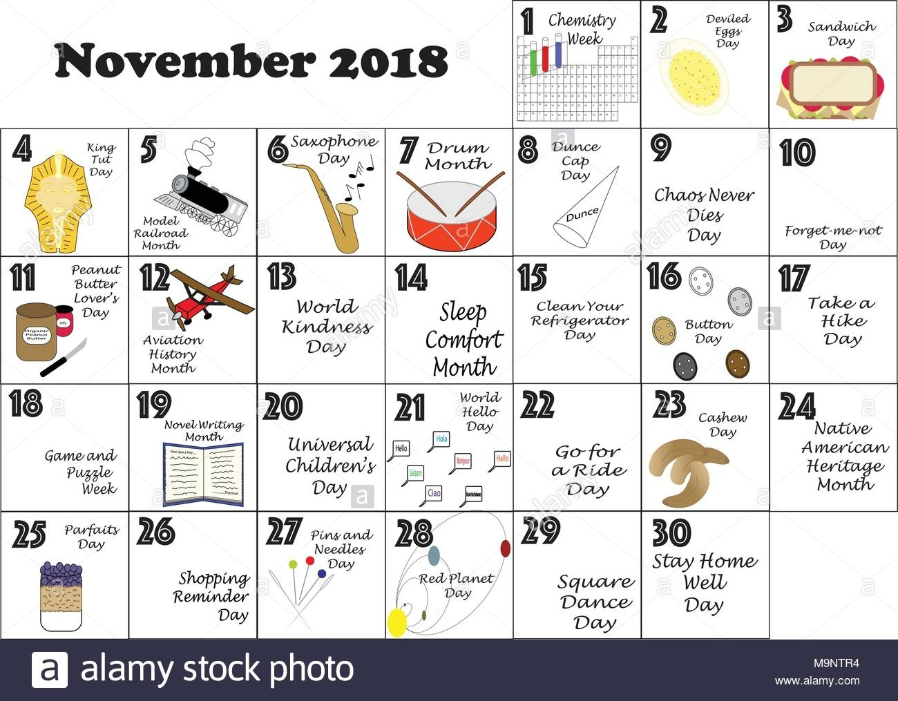 November 2018 Monthly Calendar Illustrated And Annotated With Daily Calendar Of Holidays And Celebrations
