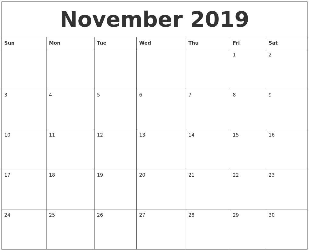 November 2019 Cute Printable Calendar Free Printable Calendar Templates Cute