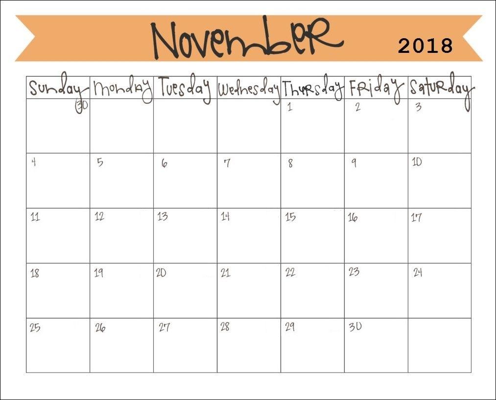 Printable November 2018 Monthly Calendar | Calendar 2018 | Pinterest Calendar Of Month November