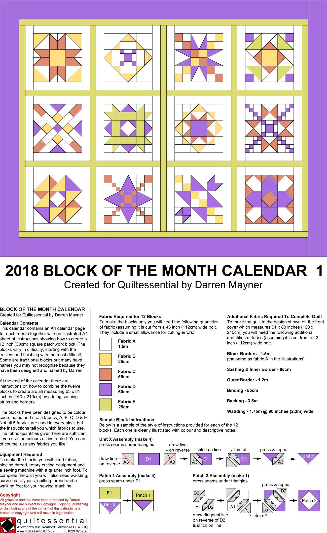 Quilt Block Calendar From Quiltessential In Derbyshire Monthly Calendar Quilt Patterns