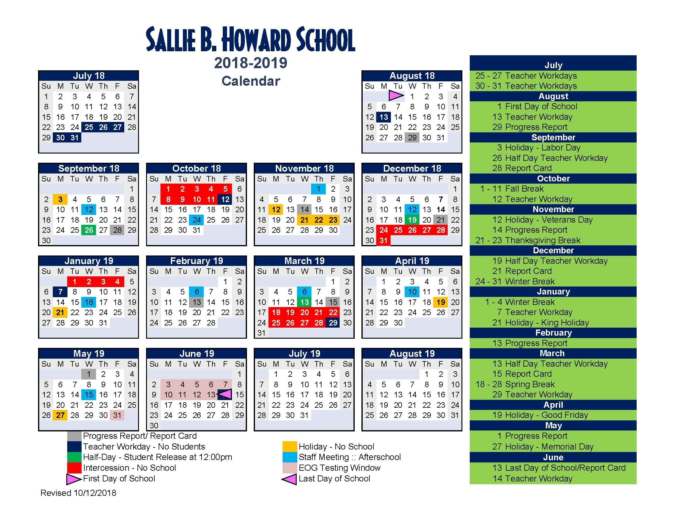Sallie B. Howard School For The Arts And Education - School Calendar School Calendar Howard County