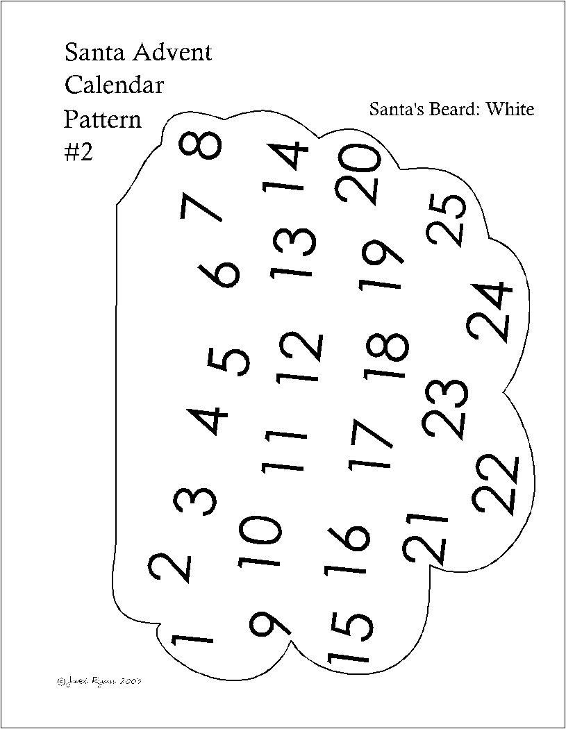 Santa Christmas Countdown Calendar - Printable Pattern - Countdown Calendar To Christmas Printable