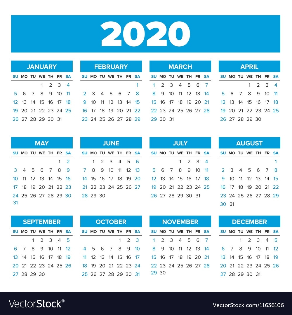 Simple 2020 Year Calendar Royalty Free Vector Image Perky Year Calendar For 2020