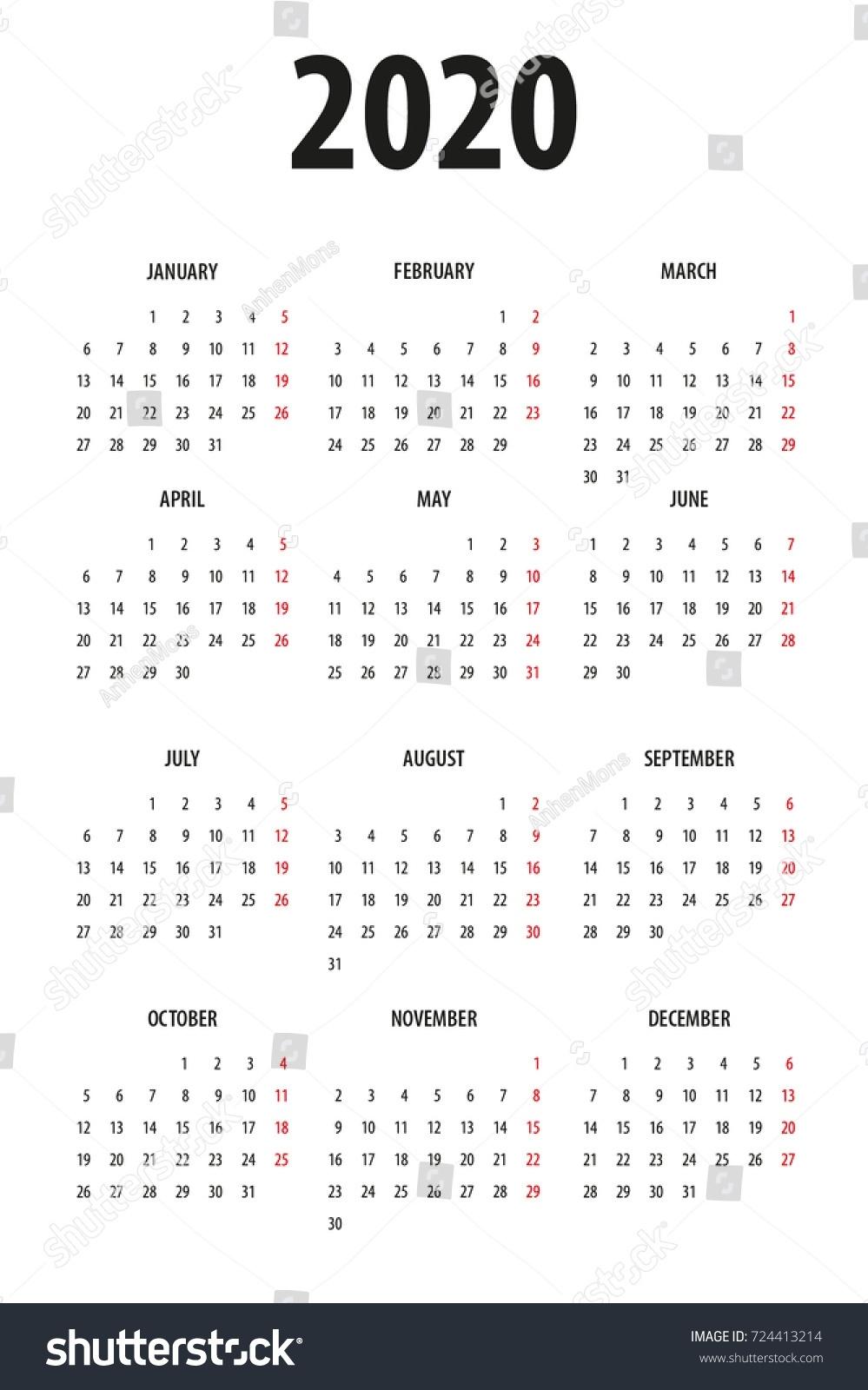 Simple Calendar Template 2020 On White Stock Vector (Royalty Free 2020 Calendar Monday To Sunday