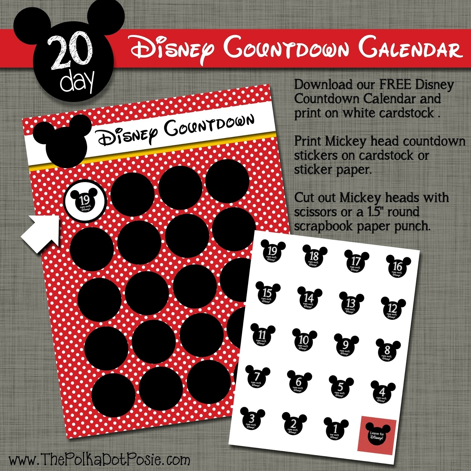 The Polka Dot Posie: Free Disney Countdown Sticker Calendar Disney Countdown Calendar Uk