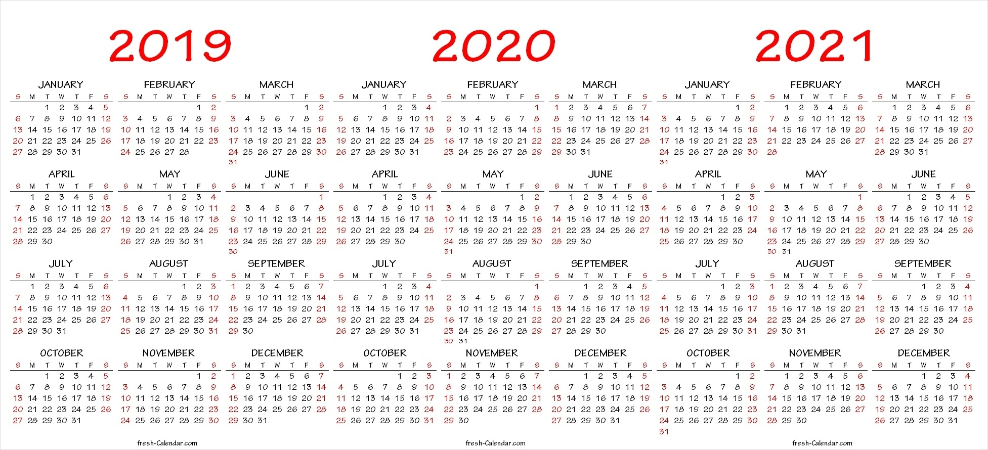 Three Yearly Calendar 2019 2020 2021 Printable Free | Blank Template Exceptional 2020 And 2021 Calendar Printable