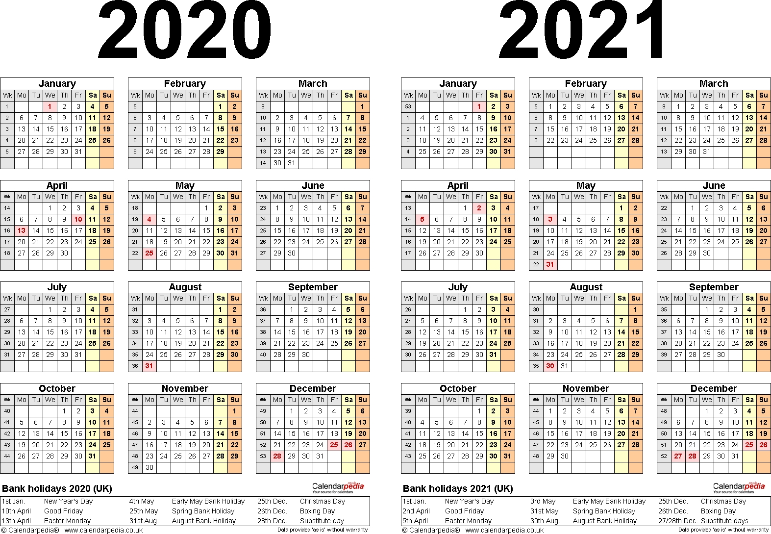 Two Year Calendars For 2020 & 2021 (Uk) For Word 2020 And 2021 Calendar Printable