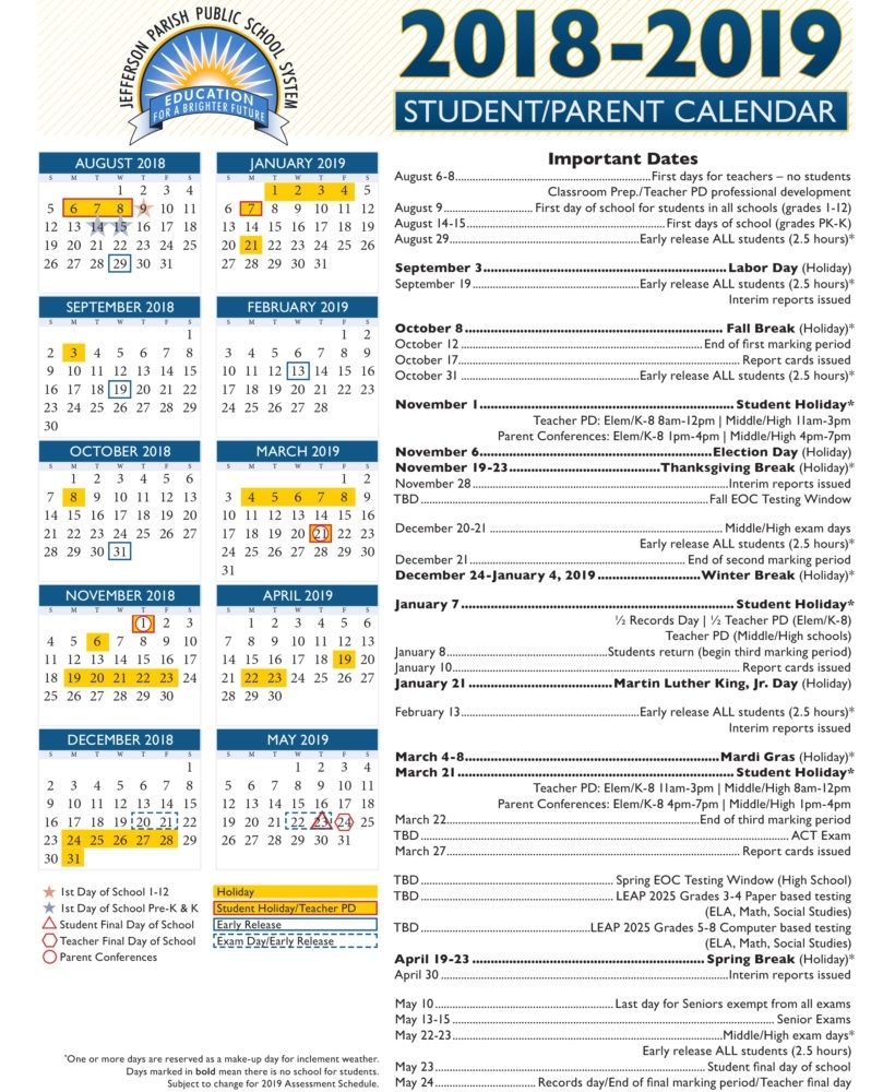 View Our 2018-19 Academic Calendar — Jefferson Parish Public School Nyc School Calendar 3018