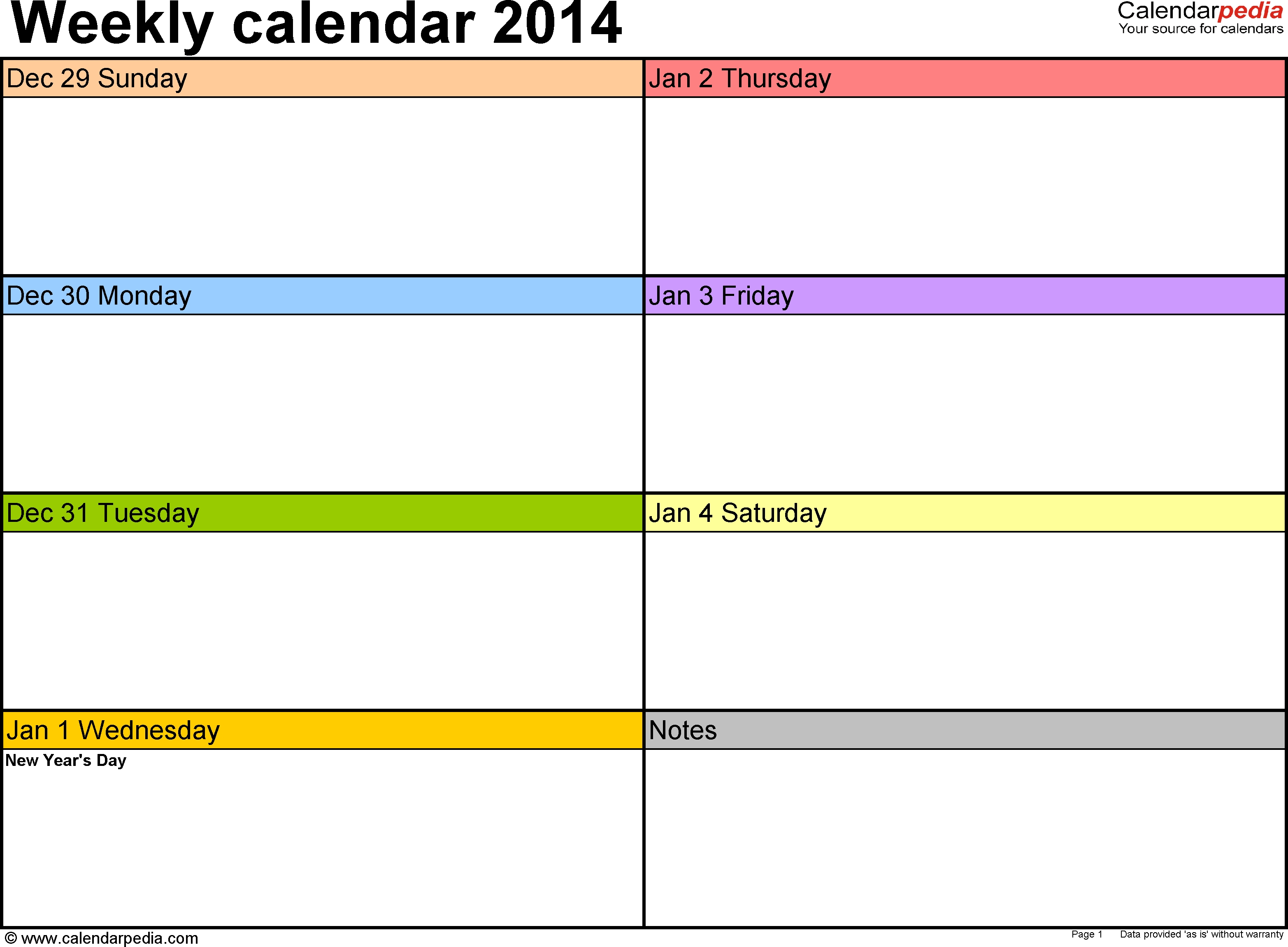 Weekly Calendar 2014 For Excel - 4 Free Printable Templates 4 Day Calendar Template