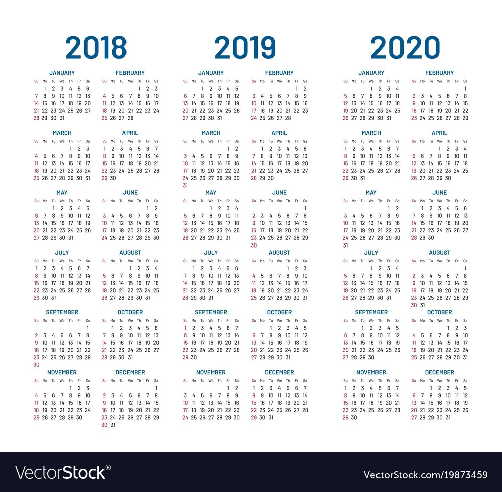 Year 2018 2019 2020 Calendar Royalty Free Vector Image Perky Year Calendar For 2020