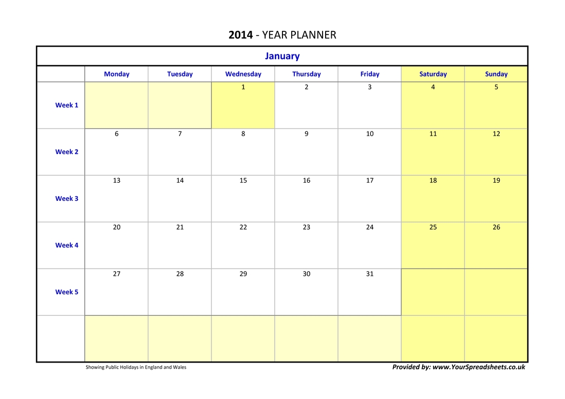 Year Planner Ireland 6 Month Planning Calendar Template