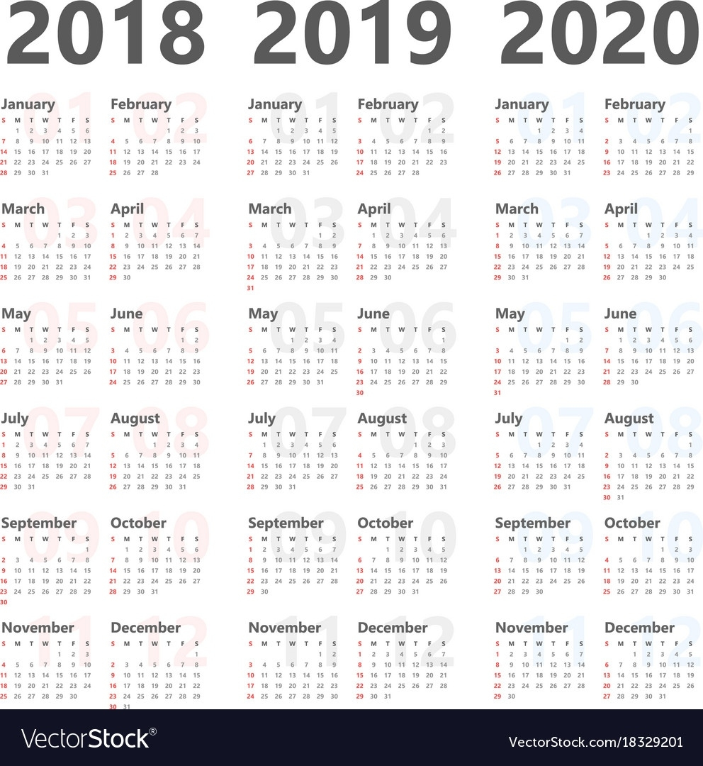 Yearly Calendar For Next 3 Years 2018 To 2020 Vector Image Perky Year Calendar For 2020