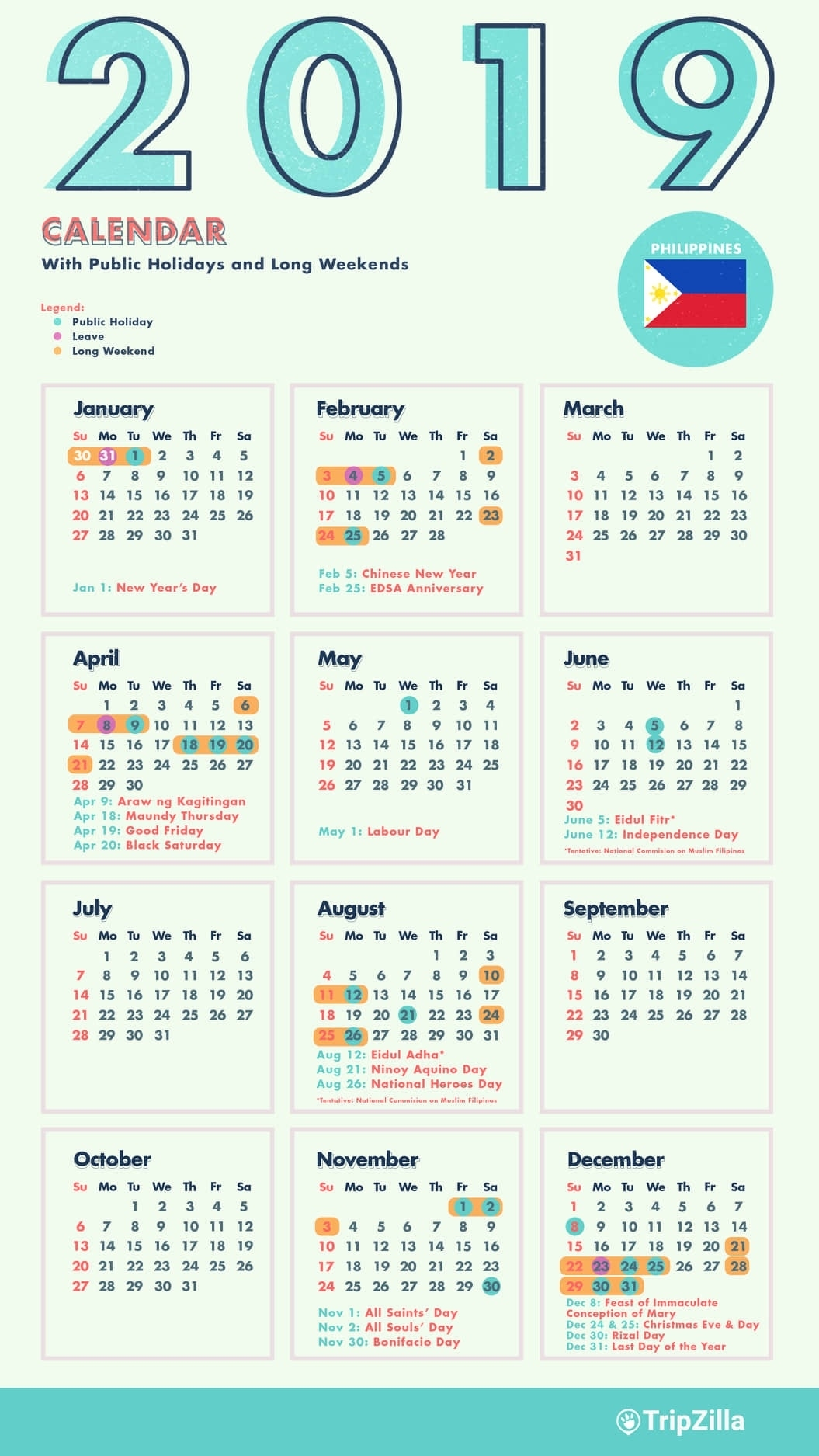 10 Long Weekends In The Philippines In 2019 With Calendar & Cheatsheet 2020 Calendar Philippines With Holidays