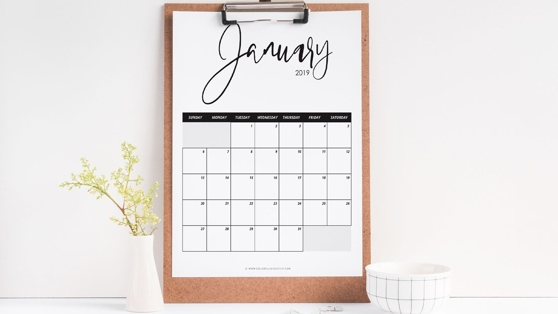 10 Stylish Free, Printable Calendars For 2019 Print At Home Calendar Templates